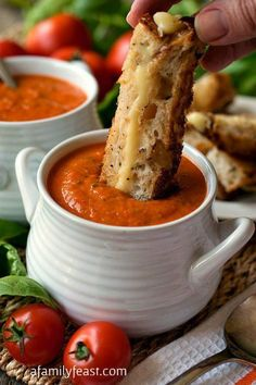 Tomato Soup - 31 Days of Fall and Winter Soups on Frugal Coupon Living plus Gourmet Grilled Cheese.