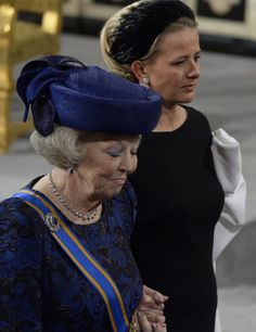 Princess Beatrix and Princess Mabel leave Nieuwe Kerk or New Church in Amsterdam after the inauguration of Dutch King Willem-Alexander on 30 April 2013
