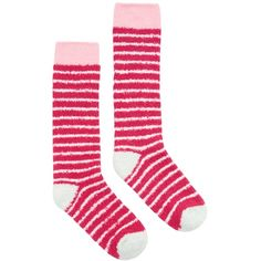 Joules Fab Fluffy Stripe Knee High Socks, Fuchsia/Blush (£4.95) ❤ liked on Polyvore featuring intimates, hosiery, socks, stripe socks, knee length socks, fuchsia socks, knee socks and knee high hosiery