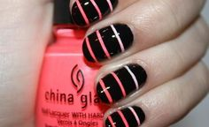 black nails with omni lines doesn't need to be pink