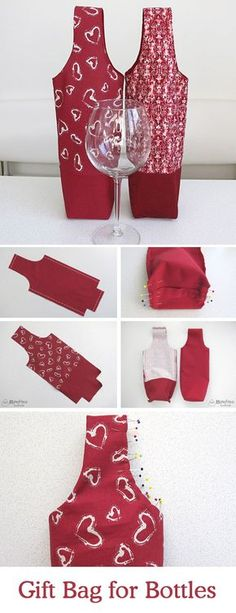 DIY Tutorial and Pattern a Bag for wine   http://www.free-tutorial.net/2017/04/tutorial-on-gift-bag-for-bottles.html