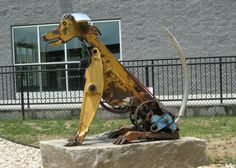 Recycled Metal Artwork | Scrap Metal Art: Dog | weird & cool stuff seen while out & about