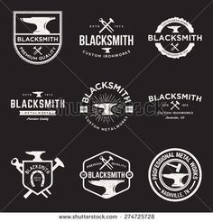 stock-vector-vector-set-of-blacksmith-vintage-logos-emblems-and-design-elements-with-grunge-texture-274725728.jpg (450×470)