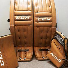 Here's a custom Tan CCM Retro Flex setup! Hockey Goalie Equipment, Goalie Gear, Goalie Pads, Hockey Stuff, New Set, Nhl, Reebok, Cool Stuff, Stuff To Buy