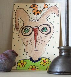aceo***granny rabbit/bunny/bird***folk art/primitive***2.5 x 3.5***original art