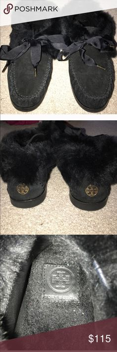 BRAND NEW Tory Burch Women's Slipper Shoes Brand new in box. Authentic Tory Burch Slipper flats with laces. These are 100% suede with rabbit fur exterior. Extremely cute and comfy! Tory Burch Shoes Slippers
