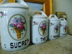 Vintage French Porcelain Kitchen Canister Set