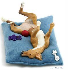 Greyhound Art Sculpture Handmade Dog Figurine by NatureVisions Diy Doll Miniatures, Polymer Clay Miniatures, Clay Cats, Greyhound Art, Dog Sculpture, Polymer Clay Animals, Sleeping Dogs, Whippet, Lurcher