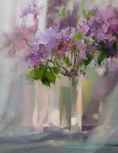 Сирень 2, картина современного художника Пысар Юрий. Цветы, сирень, аромат, весна, букет. Материал: холст. Техника: масло. Размеры картины: 65 x 50 см