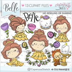 Belle Princess Clipart, Princess Clipart, Princess Graphics set for all your projects & ideas. --------------------------------------- This Clip Art set is perfect and terrific for create handmade craft items, planner stickers, stationery, greeting cards, party invitations, Witch Clipart, Fairy Clipart, Halloween Clipart, Planner Stickers, Castle Clipart, Yuri, Clip Art, Doodles, Planner Supplies
