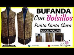 Bufanda Extralarga con Bolsillos a Dos Agujas  dd7facb3604