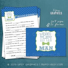 Little Man. Baby Shower Madlib Advice Cards. Printable Cards.  By Tipsy Graphics. Madlib. AdLib. Baby Wishes. Baby Statistics.