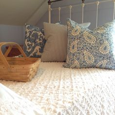 Ashley paisley, blue and cream toile, classic ticking stripes in blue and cream on a vintage chenille bedspread...ready for summer now! Chenille Bedspread, Retro Fabric, Ticking Stripe, Boho Look, Throw Cushions, Bed Spreads, Pillow Covers, Paisley, Blue And White