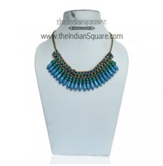 #Blue #Beads #Tribal #Neckpiece Fabulous look and designed. CASH ON DELIVERY available.