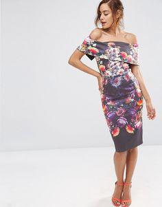 Image 4 ofASOS PETITE Deep Fold Off The Shoulder Floral Midi Dress