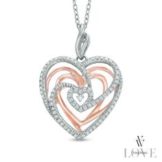 Vera Wang LOVE Collection 1/5 CT. T.W. Diamond Spiral Heart Pendant in Sterling Silver and 14K Rose Gold