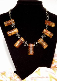Incredible Artisan Vintage Baltic Amber Necklace with Cabochon Geometric Amber on Unique Silver Hand Wired Chain.