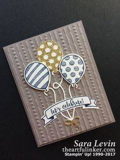 Sara Levin | theartfulinker.com Handmade masculine birthday or graduation card using Balloon Pop Up and Balloon Adventures Stampin' Up!  Click for details!