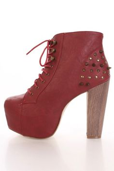 Wine Faux Leather Spike Studded Detailed Lace Up booties
