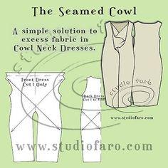 Pattern Puzzle - The Seamed Cowl Dress  #wellsuitedblog #patternpuzzles #creativepatternmaking #studiofaro #patternmaking #dressblock #drapepatterns #drapedresses