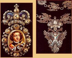 "Military Decoration with a portrait of Peter, The Great.  1719, Emperor Peter 1 ""the Great"" (reigned 1682-1725), founded the earliest version of what we now know as the State Diamond Fund of the Russian Federation."