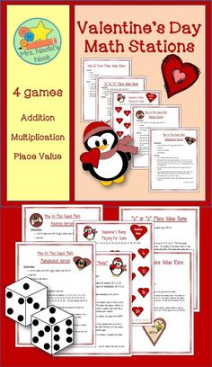 """Using a Valentine's Day theme, students will have the opportunity to explore numbers. This unit contains four activities that are ideal for math stations or may be used as home-school connections. Activities include: """"Cupid"""" (a math game that generates either sums or products), """"Bump"""" using addition or multiplication, 2 place value games based on numbers 0 to 99. Playing cards, boards and full instructions are included."""