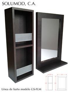Modelo GS-FLM: Compuesto por dos piezas independientes: un espejo con repisa y un armario abierto con dos repisas con topes de vidrio esmerilado. Dimensiones: el espejo de 60 cm de alto por 40 cm de ancho y el armario es de 60 cm de alto por 20 cm de ancho. Fabricados con MDF o MDP y acabado en melamina. Presentados en color Roble y disponibles en color roble y cerezo.