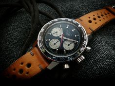 "Heuer Autavia 2446C. Regarding that last post, which included a couple of cracks about horologically challenged women, I didn't mean to imply that women aren't as nuts about watches as men are. I meant to state it as incontrovertible fact. I know that there are some women out there who will strenuously object to that statement. To those women, I say, ""Marry me."""