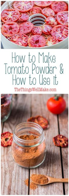 Conserve your tomatoes in a way that saves space by making a super versatile tomato powder. Learn how to make tomato powder, and how to use it. via @thethingswellmake Homemade Spices, Homemade Seasonings, Dehydrator Recipes, Canning Recipes, Dehydrated Food Recipes, Jar Recipes, Freezer Recipes, Drink Recipes, Fruits And Veggies