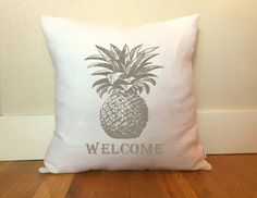 Pineapple Welcome Pillow Cover  Housewarming Gift by PillowStyles