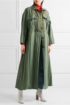 Topshop Unique - Redford Oversized Cotton Canvas-paneled Twill Trench Coat - Army green - small