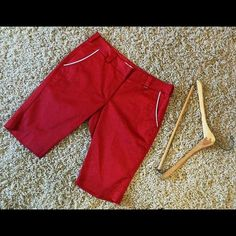 "Lija Red Golf Shorts Size 6 Like new golf/tennis shorts by Lija. red with white trim along the edge of the pockets. They are made of a cotton/spandex blend for a comfortable fit. They measure 16"" across the waist and 12"" inseam. I have several golf apparel items that can coordinate, so consider a bundle and receive a 15% discount. Lija Shorts"