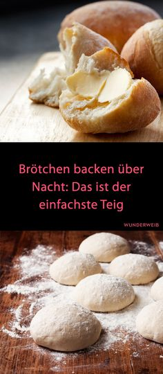 Café da manhã: assar pães durante a noite - Brot und Brötchen - Brunch Recipes, Bread Recipes, Baking Recipes, Breakfast Recipes, Pizza Recipes, Baking Buns, Bread Baking, Bread And Pastries, Breakfast Desayunos
