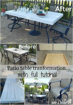 This DIY table redo was a … patio upcycle tutorial collage, patio table tutorial. This DIY table redo was a low cost and time saving way to. Painting Patio Furniture, Patio Furniture Makeover, Pallet Patio Furniture, Outdoor Furniture Sets, Wood Furniture, Patio Makeover, Furniture Ideas, Furniture Stores, Bedroom Furniture