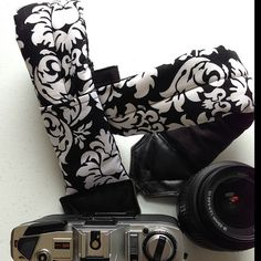 """My most popular fabric for my camera straps, """"Dani,"""" a Michael Miller design."""