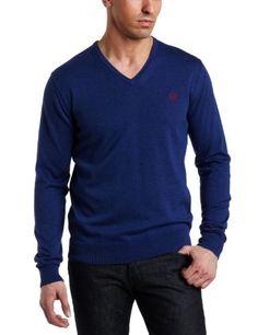 Fred Perry Men's V-Neck Sweater, Royal Marl/Blood/Porcelain, « Impulse Clothes