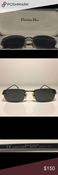 Christian Dior Sunglasses DIOR TIGER Christian Dior Sunglasses DIOR TIGER 28CR6 53-18-135 and original case. Christian Dior was a French fashion designer in the 1940's. He is best known as the founder of one of the world's top fashion brands known as simply Christian Dior. This pair has a thin metal frame. The design is beautiful with its unique features.😁EUC😁 Brand: Christian Dior Model:DIOR TIGER Color:28CR6 Frame: Metal Temple: Metal  Lens: Plastic Size: 53-18-135  Made in Austria…