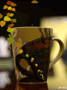 Fall Coffee  coffee animated autumn leaves fall gif leaf coffee cup good morning coffee time