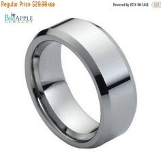 High Polished Shiny Edge His Hers 8mm Wedding Engagement Anniversary Unisex Tungsten Carbide Band Hypoallergenic Comfort Fit Plain Band Ring