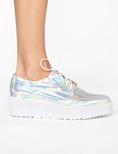 Pixie market hologram brogue shoes - hologram platforms - hologram shoes - $134