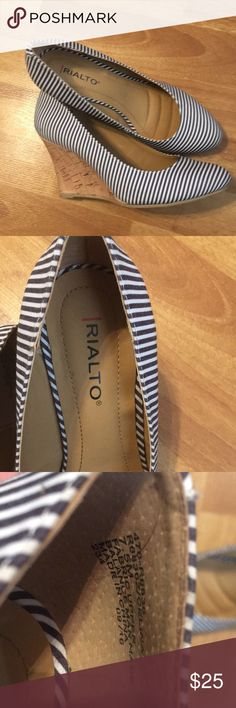 Striped wedge heels size 7.5 These are 3 inch wedge heels.. They are navy and white striped. Size 7.5 Rialto brand from Stage Stores  Worn once. Soft cushioned inner soles  Thanks for looking  Have a blessed Holiday Rialto Shoes Wedges