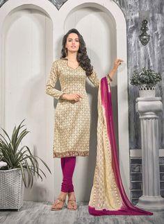Cream Bhagalpuri Churidar Suit 63279
