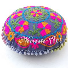 New16'' Indian Cotton Design Embroidery Suzani With Pom Pom Round Cushion Cover  #Unbranded #ArtDecoStyle