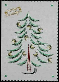 Embroidery Cards, Hand Embroidery, Card Patterns, Stitch Patterns, Embroidered Paper, Christmas Tree Pattern, Ova, Line Design, Xmas Decorations