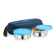 Super Max Fresh Steel Blue Lunch Box Set, 2-Pieces – Cello At Best Price in India!!!  #trendbux #lunchboxes Steel Lunch Box, Lunch Box Set, Kitchen Storage Containers, Best Water Bottle, Cleaning Appliances, Cookware Set, Cello, School Bags, Flask