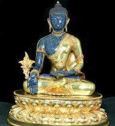 Medicine Buddha,   Lapis lazuli  and gilded copper, Nepal