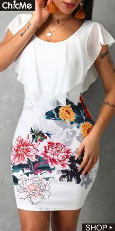Floral Dress Boho Women Floral Print O-Neck Sleeveless Ruffles Design Bodycon Dress Elegant White Mini Dress Vestidos Mujer Trend Fashion, Women's Fashion, Fashion Dresses, Fashion Clothes, Retro Fashion, Runway Fashion, Fashion Online, Latest Fashion, Boho Floral Dress