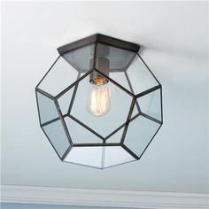Clear Glass Prism Pentagon Ceiling Light Geometric pentagon panels of clear glass create eye-catching style on your ceiling that updates every dcor. Ceiling Light Shades, Ceiling Light Design, Ceiling Lights, Lighting Shades, Ceiling Chandelier, Glass Ceiling, Modern Ceiling, Ceiling Ideas, Chandeliers