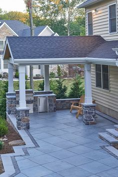 Patio With Three Types Of Pavers And Patterns | Patio With Covered Cooking  Area | Amazing Decks