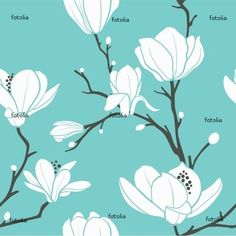 Illustration about Seamless pattern with magnolia flowers. Illustration of branches, nature, background - 16036298 Stencil Patterns, Fabric Patterns, Flower Patterns, Print Patterns, Bleu Nature, Dishwasher Cover, Magnolia Flower, Vector Pattern, Painting Inspiration